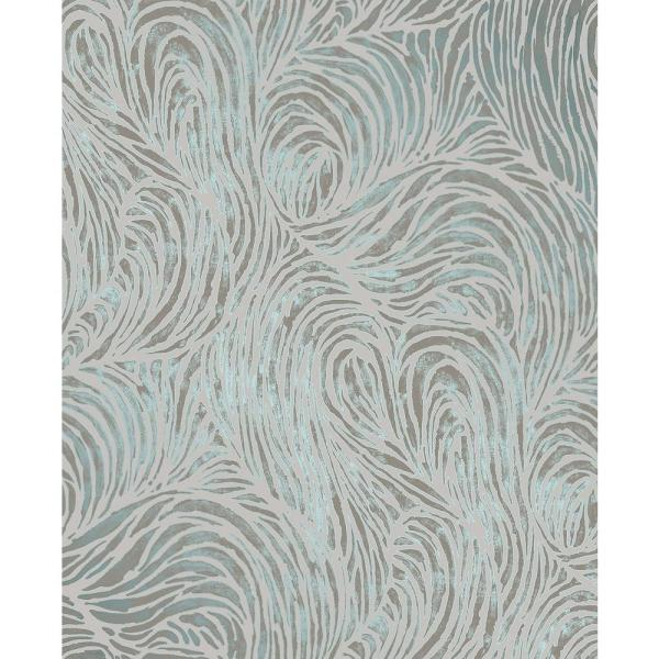 Decorline Andie Teal Swirl Wallpaper Sample 2735-23319SAM