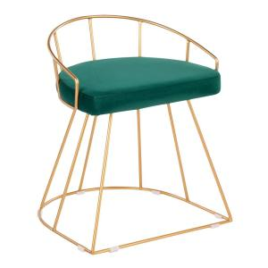 Remarkable Lumisource Canary 18 In Gold Vanity Stool With Green Velvet Bralicious Painted Fabric Chair Ideas Braliciousco