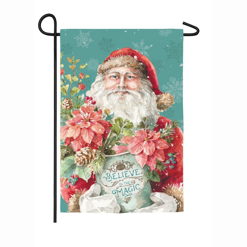 Evergreen 18 in. x 12.5 in. Christmas Magic Santa Garden Suede Flag