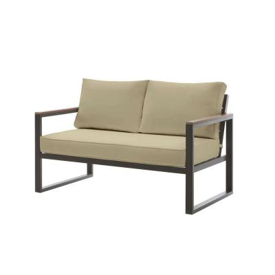 West Park Black Aluminum Outdoor Patio Loveseat with CushionGuard Putty Tan Cushions
