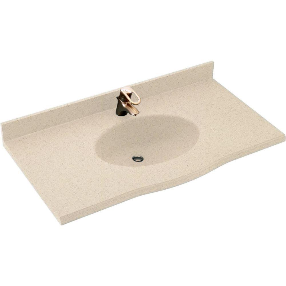 SWAN Europa 43 in. W x 22.5 in. D Solid Surface Vanity To...
