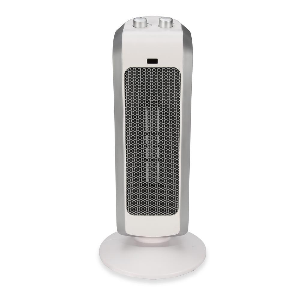 19 in. 1500-Watt Ceramic Mini Tower Heater - White