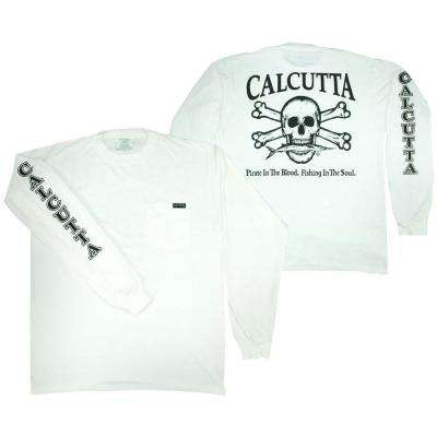 Adult Double Extra Large Original Logo Long Sleeved Front Pocket T-Shirt in White
