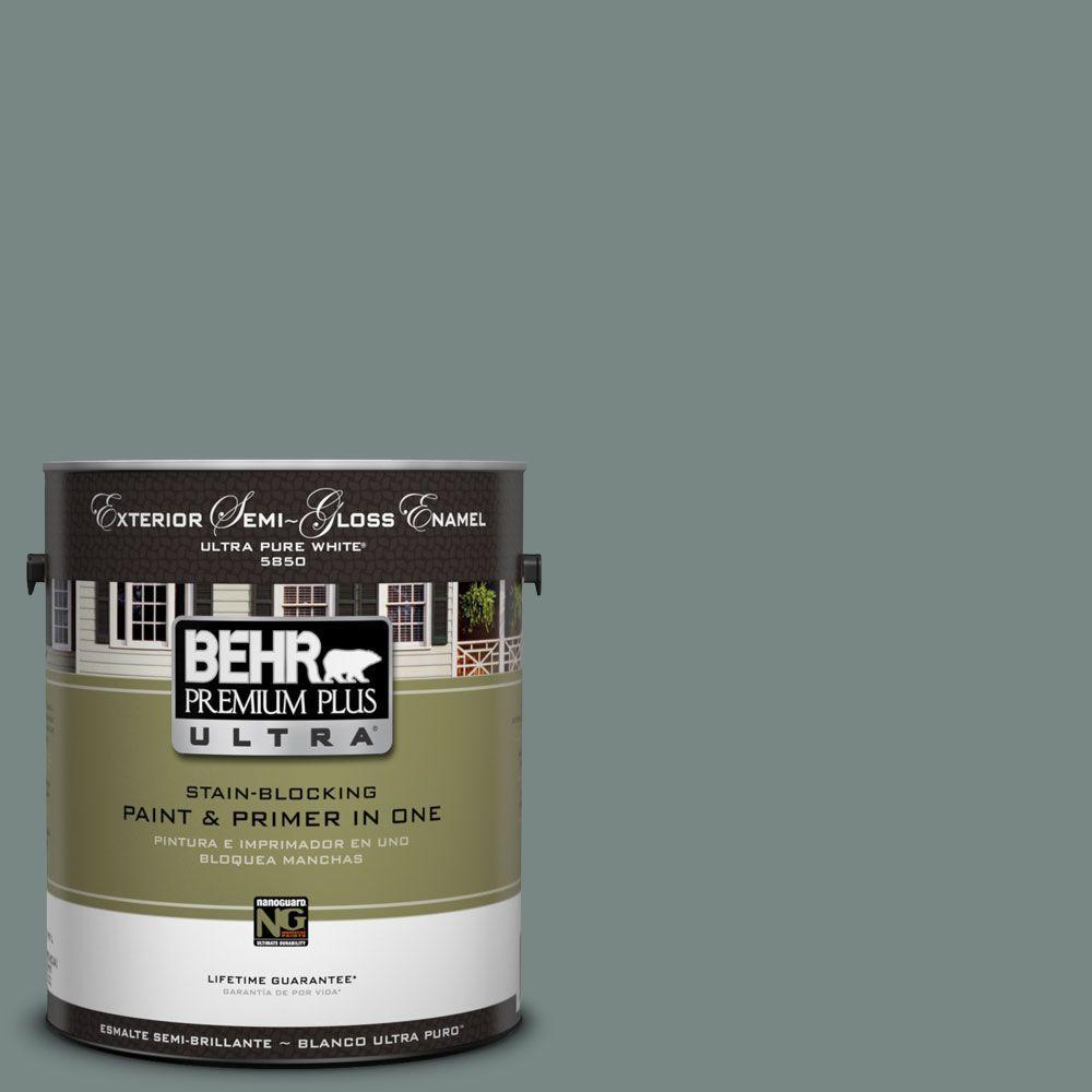 BEHR Premium Plus Ultra 1-Gal. #UL220-21 Juniper Ash Semi-Gloss Enamel Exterior Paint