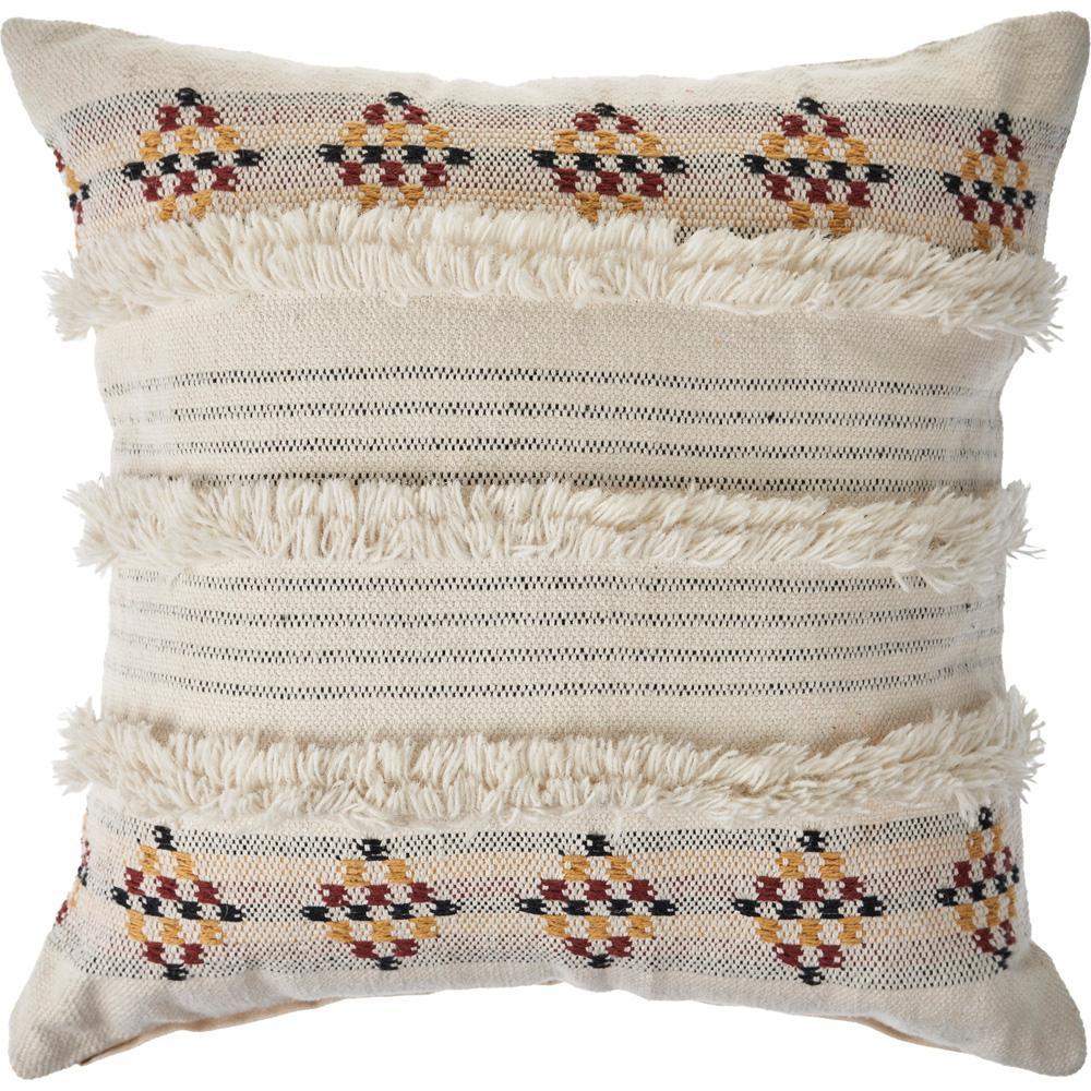 Tufted Multicolored Farmhouse Standard Throw Pillow
