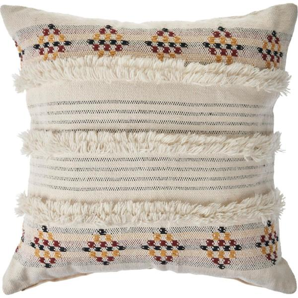 Tufted Multicolored Farmhouse Standard Throw Pillow