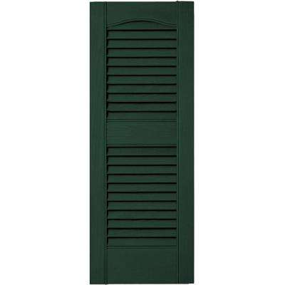 12 in. x 31 in. Louvered Vinyl Exterior Shutters Pair in #122 Midnight Green