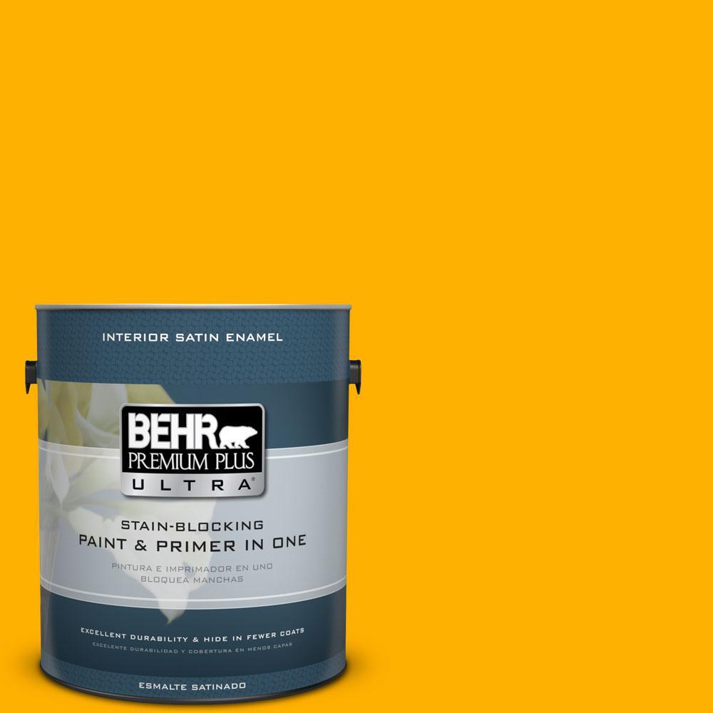 1 gal. #310B-7 Saffron Thread Satin Enamel Interior Paint and Primer