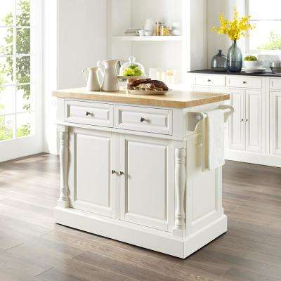 Oxford White Kitchen Island with x-Back Stools