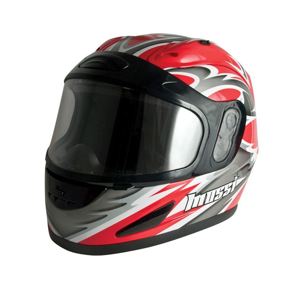 Mossi X-Large Adult Red Full Face Snowmobile Helmet