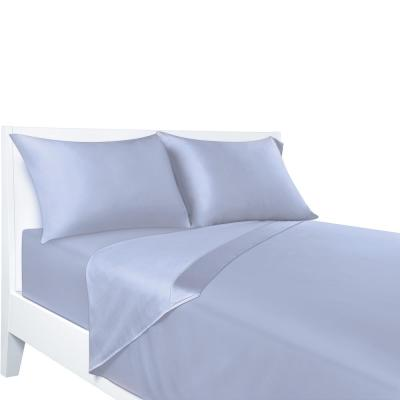 Sealy 4-Piece Blue Solid 300 Thread Count Rayon Queen Sheet Set