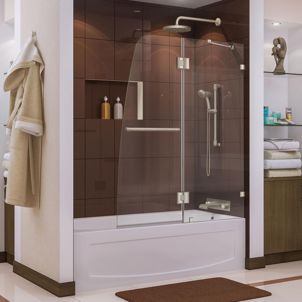 Dreamline Aqua Lux 48 In X 58 In Frameless Pivot Tub Shower Door In Brushed Nickel With Handle