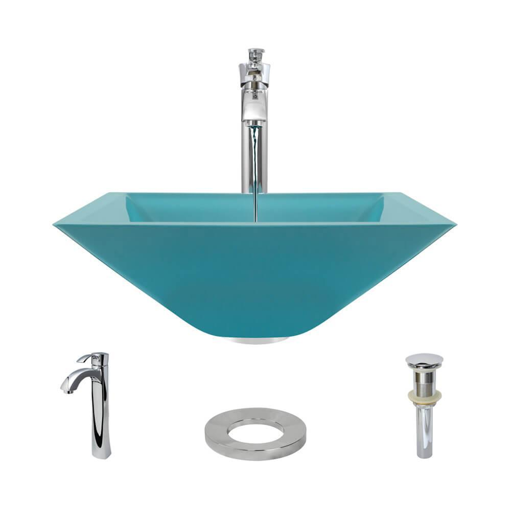Rene By Elkay Glass Vessel Sink in Cerulean with R9-7006 Faucet and ...
