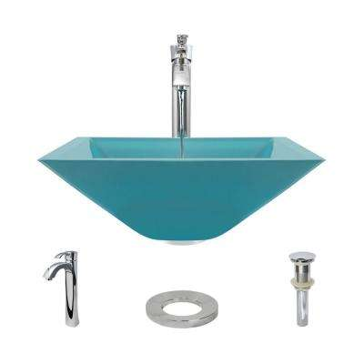Glass Vessel Sink in Cerulean with R9-7006 Faucet and Pop-Up Drain in Chrome