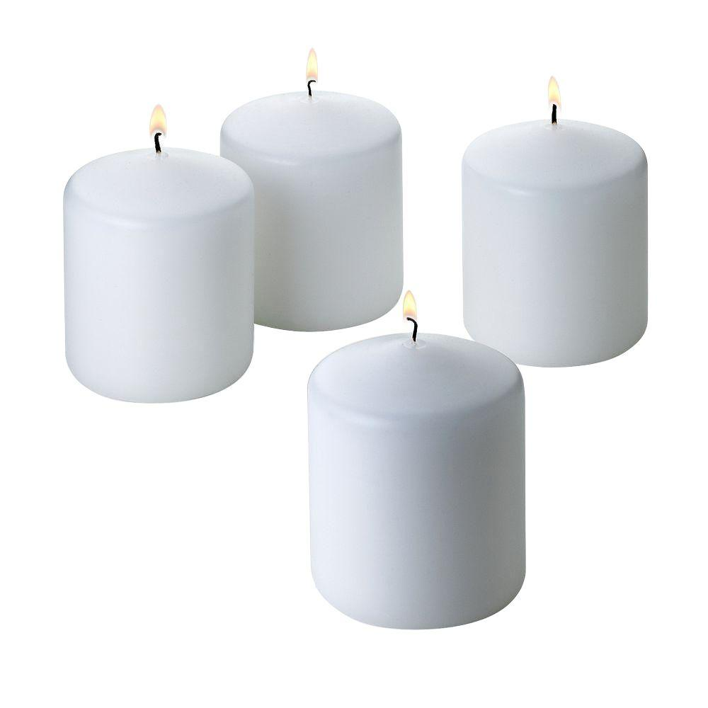 Light In The Dark 3 in. x 3 in. Unscented White Pillar Candles (4-Count)
