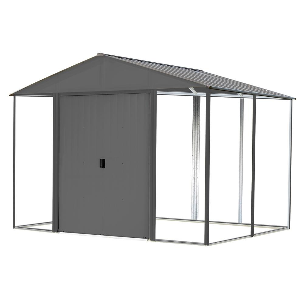 Arrow 8 ft. x 8 ft. Ironwood Steel Hybrid Shed Kit Galvanized in Anthracite