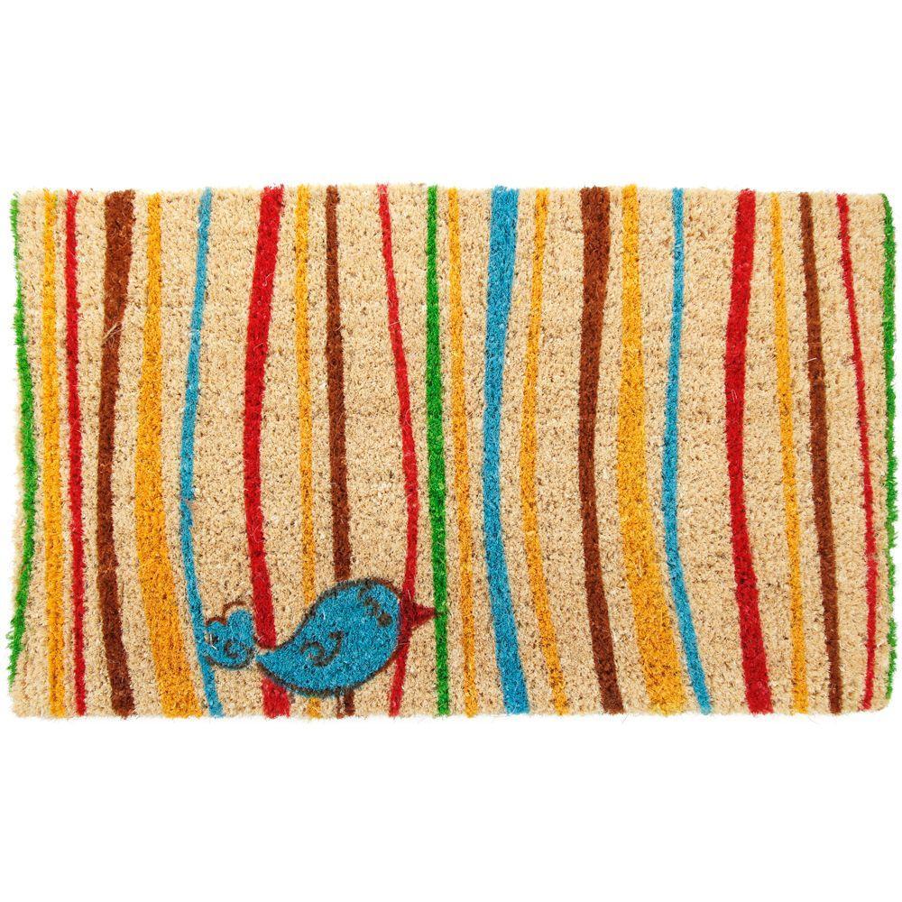 Little Groovy Bird 18 in. x 30 in. Hand Woven Coir Door Mat