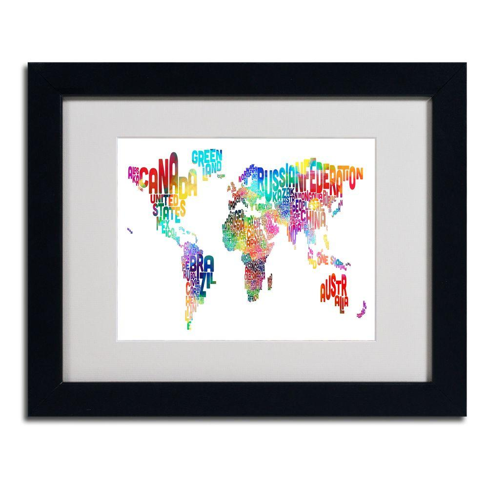 null 11 in. x 14 in. World Text Map Matted Framed Art