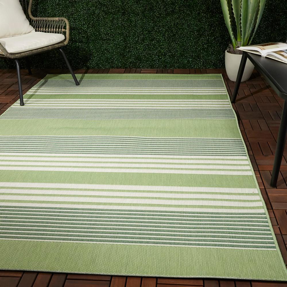 Jonah Green 8 ft. x 10 ft. Striped Indoor/Outdoor Area Rug