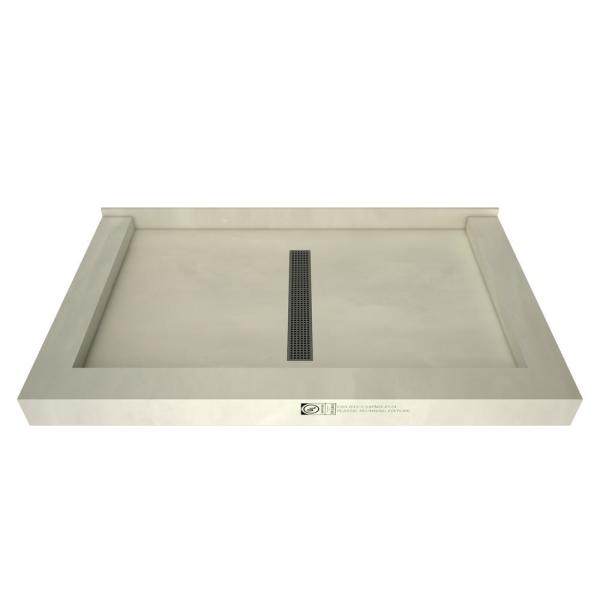 Redi Trench 36 in. x 48 in. Triple Threshold Shower Base with Center Drain and Brushed Nickel Trench Grate