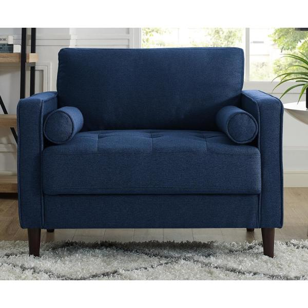Lifestyle Solutions Lillith Mid Century Modern Chair in Navy Blue