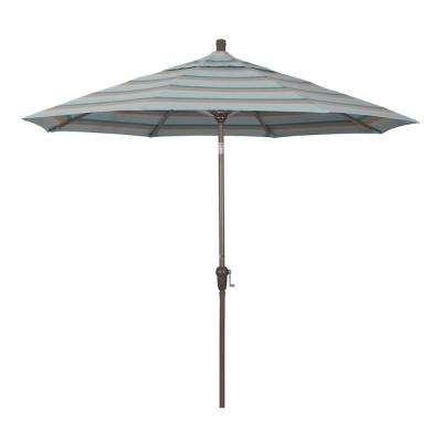 9 ft. Champange Aluminum Market Auto-tilt Crank Lift Patio Umbrella in Gateway Mist Sunbrella