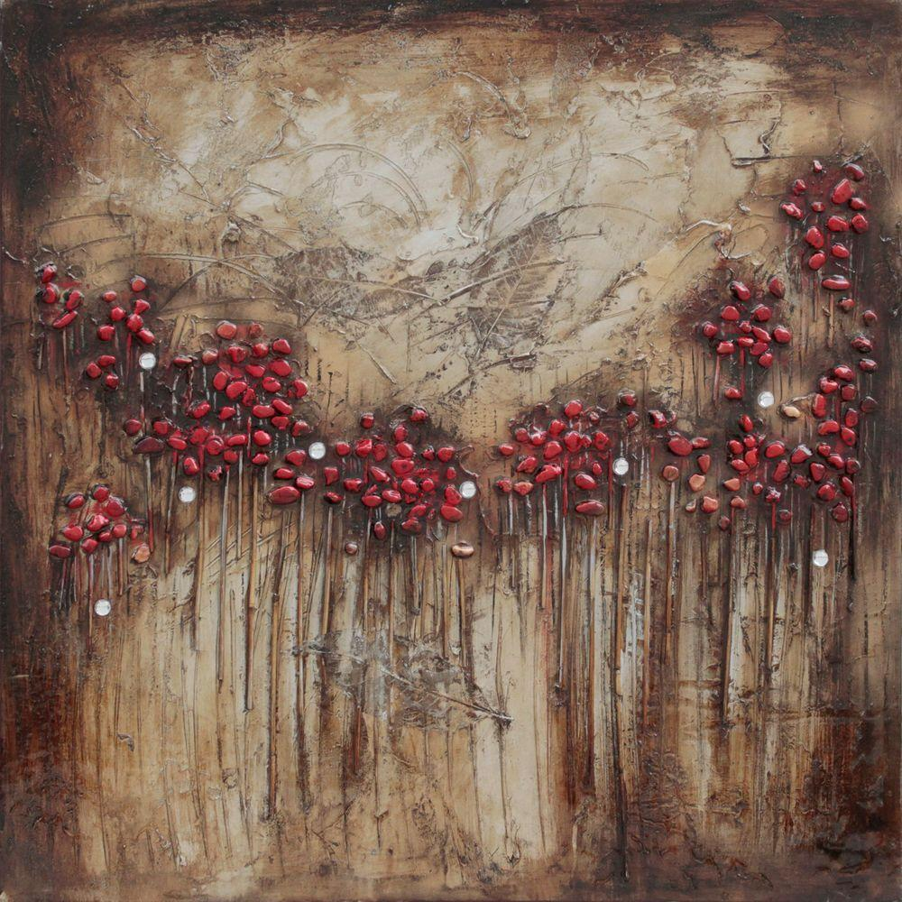 Yosemite Home Decor 32 in. x 32 in. Blooms and Berries II Hand Painted Contemporary Artwork-DISCONTINUED