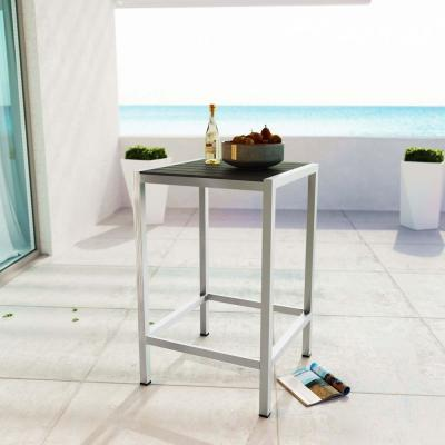 Shore Patio Aluminum Bar Height Outdoor Dining Table in Silver Gray