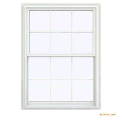 39.5 in. x 47.5 in. V-2500 Series White Vinyl Double Hung Window with Colonial Grids/Grilles