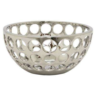 10.5 in. x 10.5 in. Silver Decorative Pierced Silver Ceramic Bowl