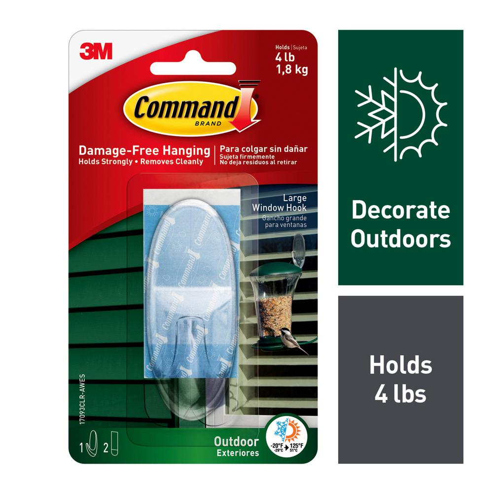 Command 3-Piece Large Clear Outdoor Window Hook