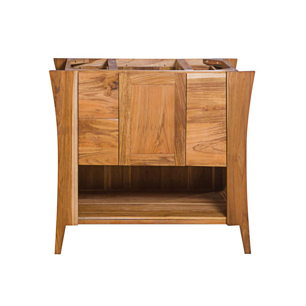 EcoDecors Curvature 36 in. L Teak Vanity Cabinet Only in Natural Teak
