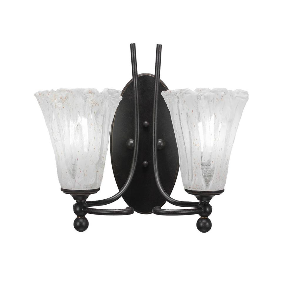 2-Light Dark Granite Sconce with Clear Seeded Glass