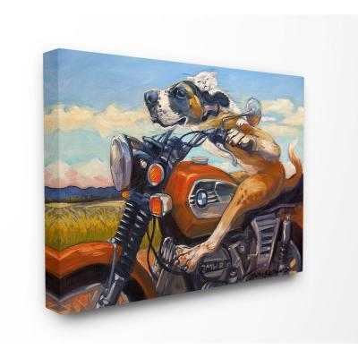 "30 in. x 40 in. ""Dog And Cat on a Red Motorcycle Road Trip Painting"" by Tai Prints Canvas Wall Art"