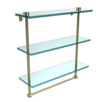 16 in. L  x 18 in. H  x 5 in. W 3-Tier Clear Glass Bathroom Shelf with Towel Bar in Satin Brass