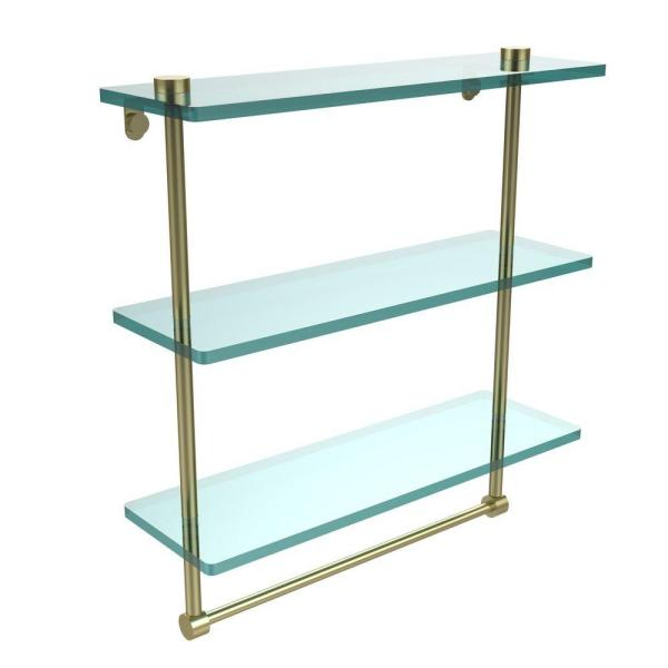 Allied Brass 16 In L X 18 In H X 5 In W 3 Tier Clear Glass Bathroom Shelf With Towel Bar In Satin Brass Ns 5 16tb Sbr The Home Depot