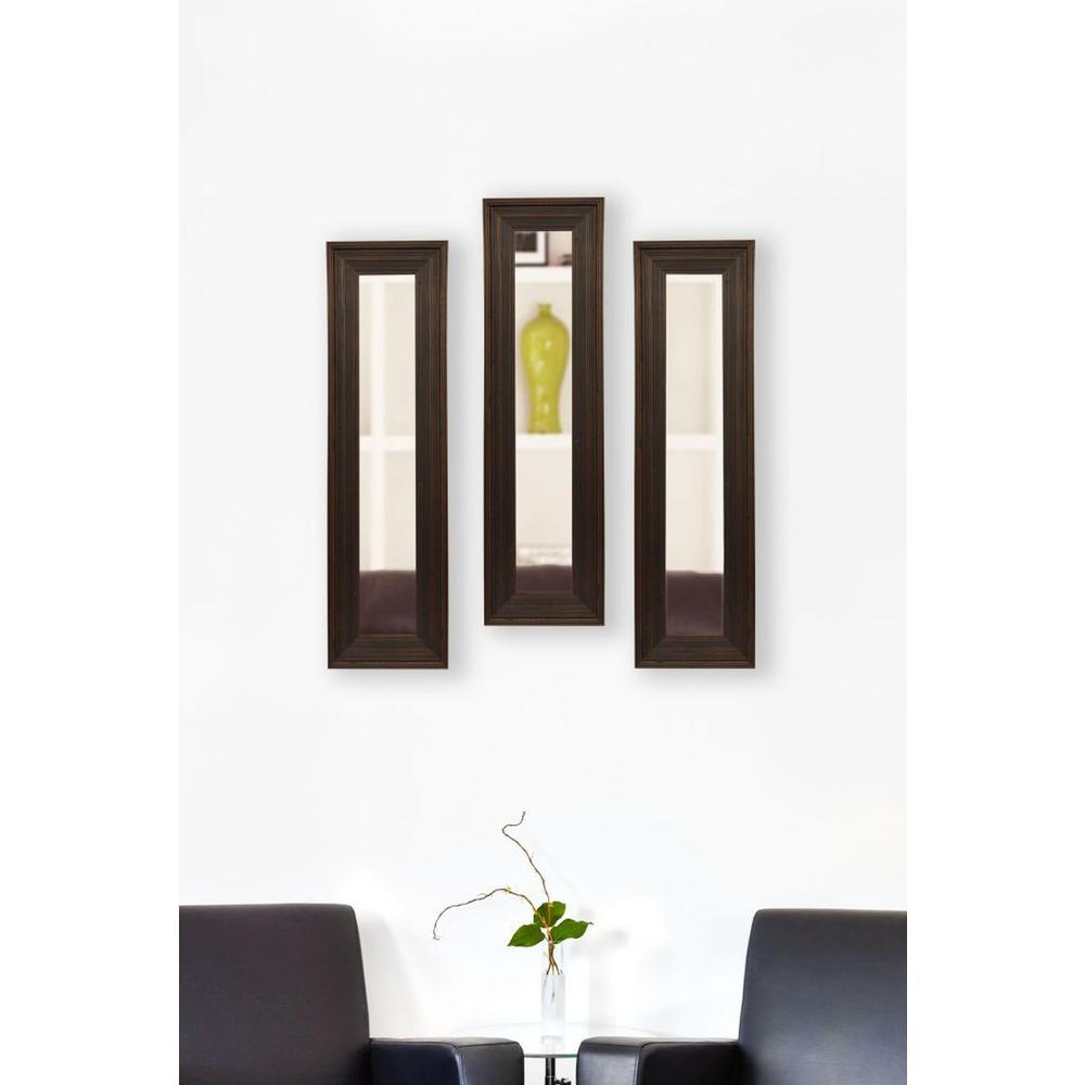 15.75 in. x 29.75 in. Barnwood Brown Vanity Mirror (Set of 3-Panels)