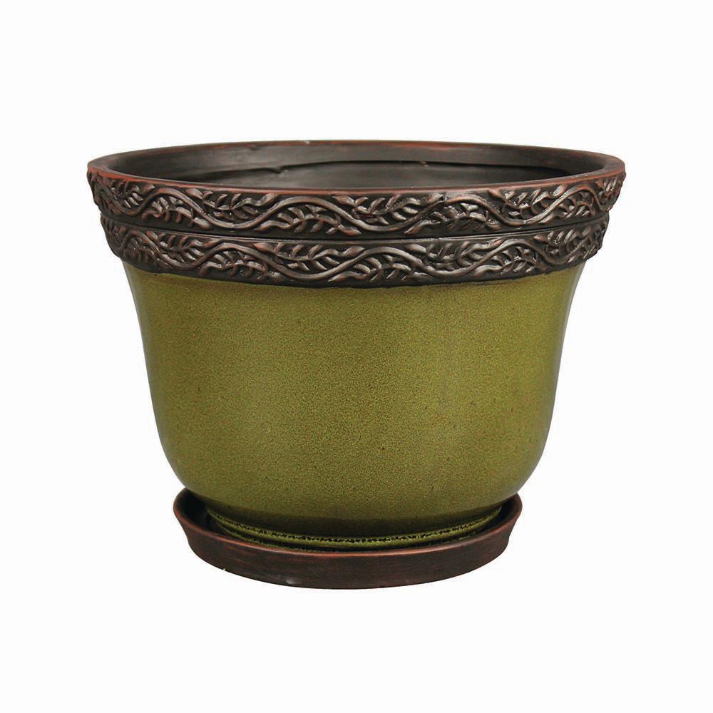 Reserva 12 in. Dia  Jade Ceramic Planter