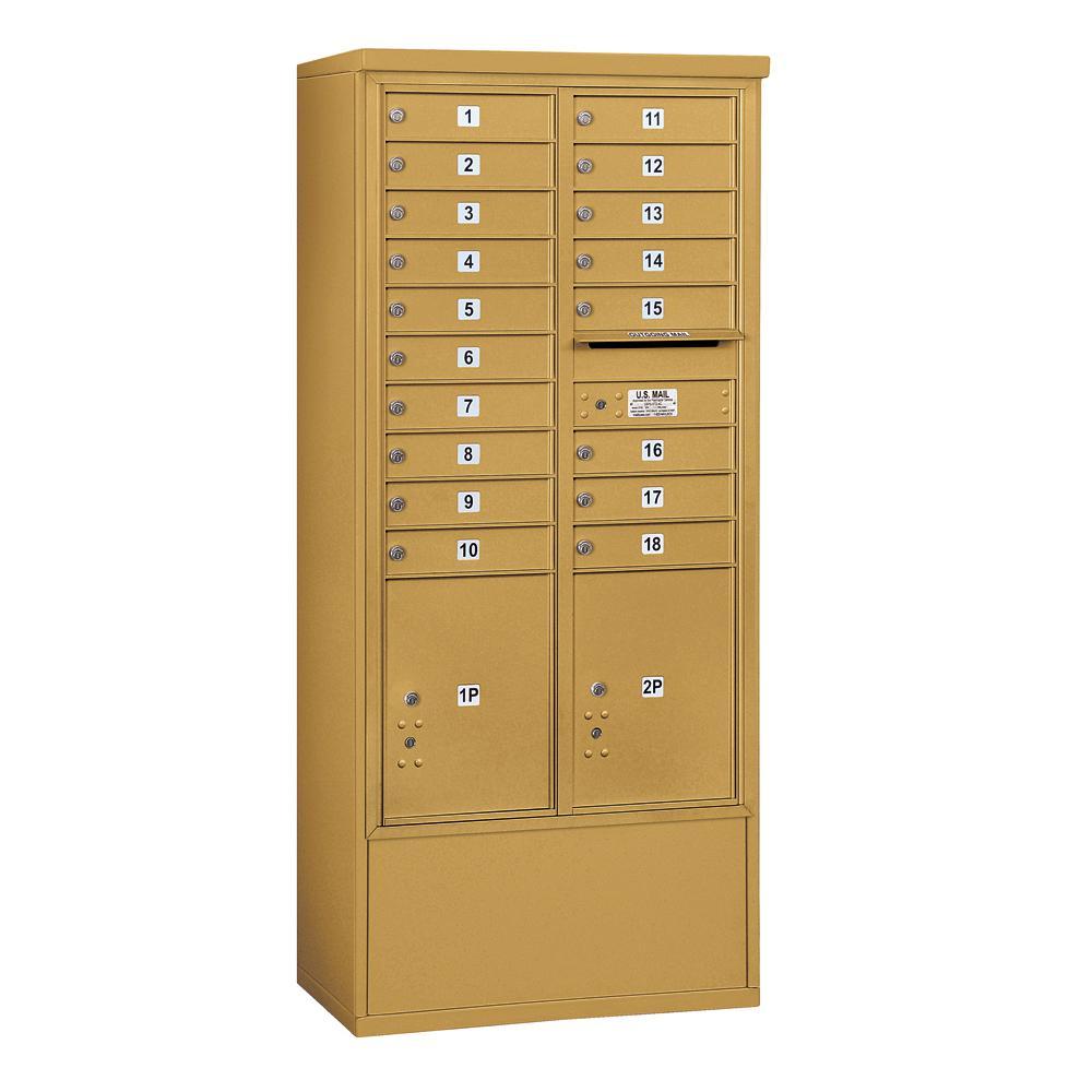 3900 Horizontal Series 18-Compartment 2-Parcel Locker Free Standing Mailbox
