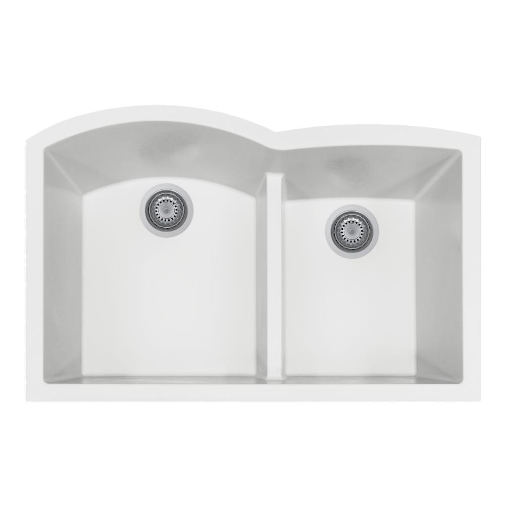 Quartztone Series Undermount Granite 33 in. Double Bowl Kitchen Sink