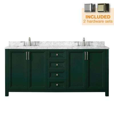 Sandon 72 in. W x 22 in. D Bath Vanity in Emerald Green with Marble Vanity Top in Carrara White with White Basin