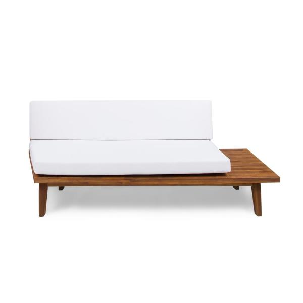Reginald Sandblast Wood Outdoor Right Sided Sofa with White Cushion