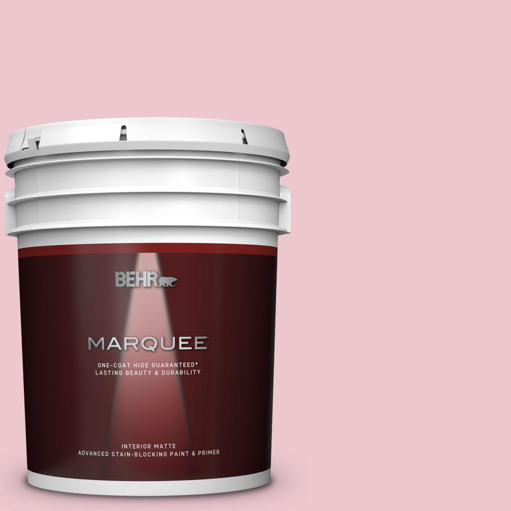BEHR MARQUEE 5 gal. #M140-2 Funny Face Matte Interior Paint and Primer in One BEHR MARQUEE Stain-Blocking Matte Interior Paint and Primer is our most advanced interior matte paint delivering high-performance coverage and color protection that makes the beauty last longer. Your new look will stay looking fresh and beautiful year after year backed by a lifetime guarantee. This matte sheen has a flat, low-reflective finish that's easy to clean, touches up well and also hides minor surface imperfections. Color: Funny Face.