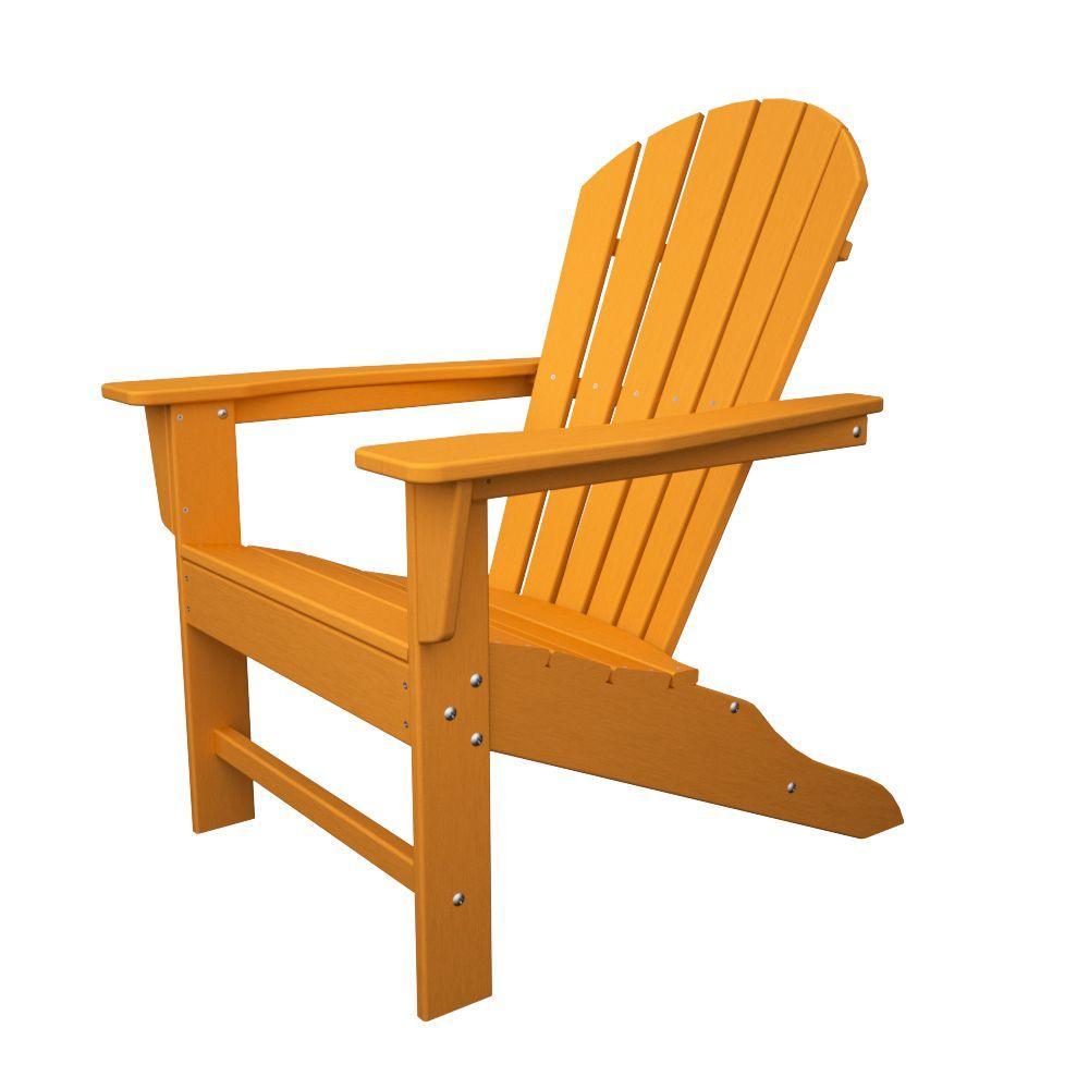 South Beach Tangerine Plastic Patio Adirondack Chair