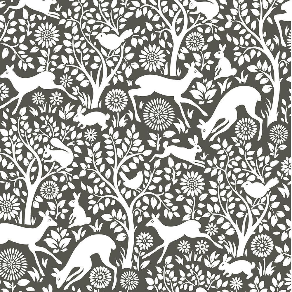 NuWallpaper 30.75 sq. ft. Charcoal Merriment Peel and Stick Wallpaper