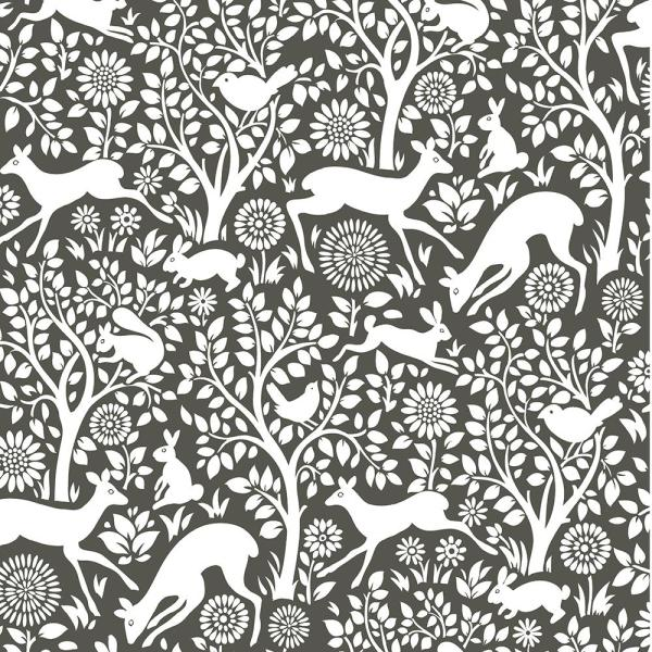 NuWallpaper 8 in. x 10 in. Charcoal Merriment Peel and Stick