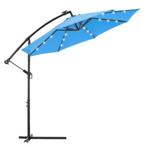 10 ft. Steel Outdoor Hanging Cantilever Solar LED Patio Umbrella in Blue, Easy Open Adustment with 24 LED Lights