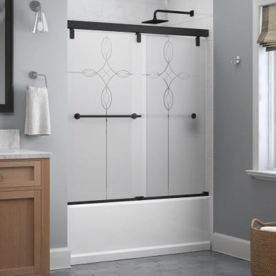 Lyndall 60 x 59-1/4 in. Frameless Mod Soft-Close Sliding Bathtub Door in Matte Black with 1/4 in.(6mm) Tranquility Glass