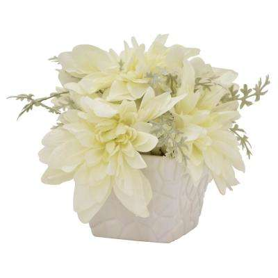 9.5 in. Faux Flowers in Pot in White