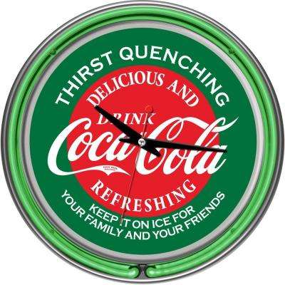 14 in. Coca-Cola Red and Green Neon Wall Clock